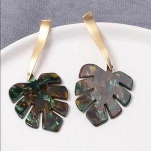 Gold, Green & Brown Leaf Dangling Earrings